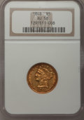 Liberty Half Eagles: , 1848 $5 AU58 NGC. NGC Census: (118/41). PCGS Population (19/21).Mintage: 260,775. Numismedia Wsl. Price for problem free N...