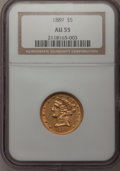Liberty Half Eagles: , 1889 $5 AU55 NGC. NGC Census: (24/100). PCGS Population (34/57).Mintage: 7,565. Numismedia Wsl. Price for problem free NGC...