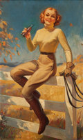 Pin-up and Glamour Art, BRADSHAW CRANDELL (American, 1896-1966). Lady with RidingCrop. Oil on canvas. 50 x 30.5 in.. Signed lower left.Fro...