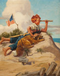 Mainstream Illustration, HY (HENRY) HINTERMEISTER (American, 1897-1972). Shore PatrolPost No. 2. Oil on canvas. 36 x 29 in.. Signed lower left. ...