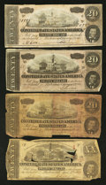 Confederate Notes:1863 Issues, $20 1863 and 1864 CSA Notes.. ... (Total: 4 notes)