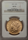 Liberty Double Eagles: , 1872 $20 AU55 NGC. NGC Census: (126/313). PCGS Population (79/168).Mintage: 251,880. Numismedia Wsl. Price for problem fre...