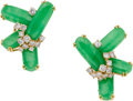 Estate Jewelry:Earrings, Jadeite Jade, Diamond, Gold Earrings, Julius Cohen. ...