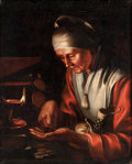 Paintings, School of GERRIT VAN HONTHORST (Dutch, 1590-1656). Old Woman Counting Money (Allegory of Avarice). Oil on canvas. 28 x 2...