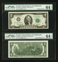 Error Notes:Miscellaneous Errors, Two Fr. 1935-E $2 1976 Federal Reserve Notes including One Bookend. PMG Choice Uncirculated 64 EPQ.. ... (Total: 2 notes)