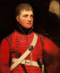Paintings, Attributed to WILLIAM BEECHEY (British, 1753-1839). Portrait of a British Military Officer in Red Uniform. Oil on canvas...