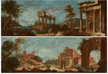 Fine Art - Painting, European:Antique  (Pre 1900), FROM THE FLANNER & BUCHANAN CORPORATE COLLECTION. Studio ofLEONARDO COCCORANTE (Italian, 1680-1750). A Pair of Architec...(Total: 2 Items)
