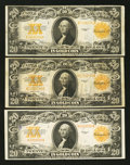 Large Size:Gold Certificates, Fr. 1187 $20 1922 Gold Certificates Three Examples Very Fine orBetter.. ... (Total: 3 notes)