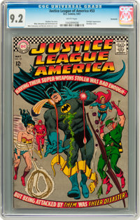Justice League of America #53 Savannah pedigree (DC, 1967) CGC NM- 9.2 White pages