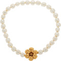 Luxury Accessories:Accessories, Chanel 1998 Fall Camellia Gripoix Pearl Choker. ...