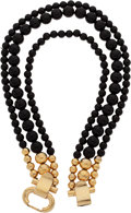 Luxury Accessories:Accessories, Givenchy, Paris 1970's Sophisticated Buckle Black Lucite necklace....
