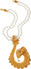 Luxury Accessories:Accessories, 1980's Custom Made in Saint-Tropez Sea Serpent Gilt Metal andFrench Beads Necklace, Attributed to Christian Lacroix. ...