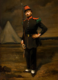 FRENCH SCHOOL (19TH Century) Portrait of a French Soldier in Uniform near his Encampment, circa 1865-6