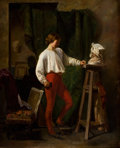 Fine Art - Painting, European:Antique  (Pre 1900), CONTINENTAL SCHOOL (19th Century). Young Sculptor in HisAtelier. Oil on wood panel. 18-1/4 x 14-1/2 inches (46.4 x36.8...