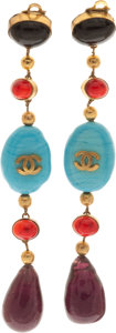 Luxury Accessories:Accessories, Chanel 1975 Runway Custom Order Gripoix Earrings. ... (Total: 2 Items)