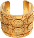 Luxury Accessories:Accessories, Chanel Late 70's Block Letter Signature Coin Runway Cuff Bracelet....