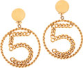 Luxury Accessories:Accessories, Chanel 1970's Number 5 Curved Chain Runway Earrings, Monaco Store Collection. ... (Total: 2 Items)