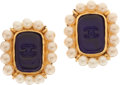 Luxury Accessories:Accessories, Chanel 1994 Fall Gripoix Deep Blue and Pearl Earrings. ... (Total:2 Items)