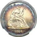 Proof Seated Quarters, 1864 25C PR65 ★ Cameo NGC....