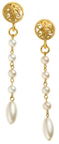 Luxury Accessories:Accessories, Chanel 1996 Etruscan Gripoix Pearl Tear Drop Earrings. ... (Total:2 Items)