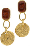 Luxury Accessories:Accessories, Chanel 1993 Fall Amber Gripoix Parisian Coat of Arms Coin Earrings.... (Total: 2 Items)