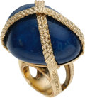 Luxury Accessories:Accessories, Gianni Versace Runway Lapis Stone Ring size 6. ...