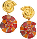 Luxury Accessories:Accessories, Yves Saint Laurent 1970's Rare Runway Porcelain Sea Shell Earrings.... (Total: 2 Items)