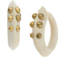 Luxury Accessories:Accessories, Patricia von Musulin Custom Made Ivory and Gilt Sterling HoopEarrings. ...