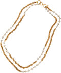 Luxury Accessories:Accessories, Chanel Long Double Strand and Chain Gripoix Pearl Sautoir Necklace....