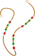 Luxury Accessories:Accessories, Chanel 1982 Cranberry and Green Gripoix Sautoir Necklace. ...