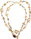 Luxury Accessories:Accessories, Yves Saint Laurent Runway Gilded Metal and Shell Double StrandNecklace. ...