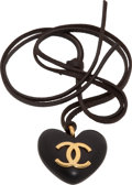 Luxury Accessories:Accessories, Chanel 1985 Special Order Ebonized Wood Heart Necklace on LeatherCord. ...