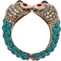 Luxury Accessories:Accessories, Chanel 2008 Turquoise, Red, & Black Gripoix Stones and DiamanteCrystal Lion's Head Cuff Bracelet. ...