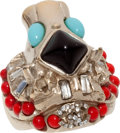 Luxury Accessories:Accessories, Chanel 2008 Tuquoise, Red, & Black Gripoix Stones and DiamanteCrystal Lion's Head Ring. ...