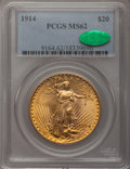 Saint-Gaudens Double Eagles: , 1914 $20 MS62 PCGS. CAC. PCGS Population (512/1143). NGC Census:(576/618). Mintage: 95,200. Numismedia Wsl. Price for prob...