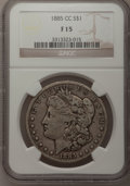 Morgan Dollars: , 1885-CC $1 Fine 15 NGC. NGC Census: (1/7994). PCGS Population (13/17325). Mintage: 228,000. Numismedia Wsl. Price for probl...