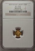 California Fractional Gold: , 1870 50C Liberty Round 50 Cents, BG-1024, Low R.4, MS62 ProoflikeNGC. NGC Census: (8/4). (#710853...