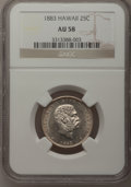 Coins of Hawaii: , 1883 25C Hawaii Quarter AU58 NGC. NGC Census: (76/754). PCGSPopulation (105/1065). Mintage: 500,000. (#10987). FromThe...