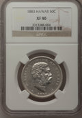 Coins of Hawaii: , 1883 50C Hawaii Half Dollar XF40 NGC. NGC Census: (21/316). PCGSPopulation (59/446). Mintage: 700,000. (#10991). From T...