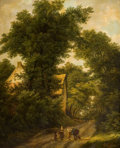 Fine Art - Painting, European:Antique  (Pre 1900), ISABELLA CATHERINE VAN ASSCHE-KINDT (Belgian, 1794-after 1742).Woodland Landscape with Figures on a Path, 1833. Oil on ...