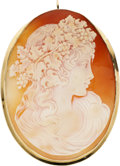 Estate Jewelry:Pendants and Lockets, Shell Cameo, Gold Pendant-Brooch. ...