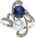Estate Jewelry:Rings, Sapphire, Cultured Pearl, Diamond, White Gold Ring. ...