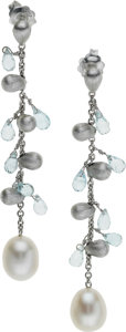 Estate Jewelry:Necklaces, Aquamarine, Freshwater Cultured Pearl, White Gold Earrings, MarcoBicego. ...