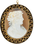 Estate Jewelry:Brooches - Pins, Hardstone Cameo, Gold Pendant-Brooch. ...