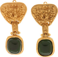 Chanel 1994 Fall Deep Green Gripoix Runway Earrings