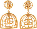 Luxury Accessories:Accessories, Chanel Early 1980's Birdcage Earrings, Very Rare. ... (Total: 2Items)