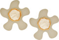 Luxury Accessories:Accessories, Chanel 1985 Whimsical Lucite Puzzle-Shaped Morphic Earrings. ...(Total: 2 Items)