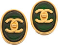 Luxury Accessories:Accessories, Chanel 1997 Classic 2.55 Purse Closure Deep Green Gripoix Earrings.... (Total: 2 Items)