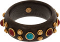Luxury Accessories:Accessories, Chanel 1982 Ebonized Wood, Gold Gilt, and Gripoix Bangle Bracelet....
