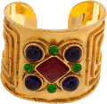 Luxury Accessories:Accessories, Chanel 1981 Etruscan Cranberry, Deep Green, and Deep Blue Runway Cuff. ...